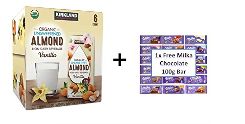 Kirkland Signature Organic Vanilla Almond Beverage 32 oz, 6-pack + PLUS FREE Milka Chocolate Bar