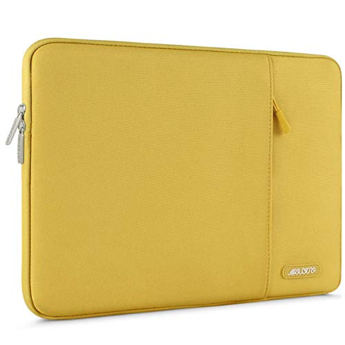 MOSISO Laptop Sleeve Bag Compatible with 13-13.3 inch MacBook Pro, MacBook Air, Notebook Computer, Water Repellent Polyester Vertical Protective Case Cover with Pocket, Yellow