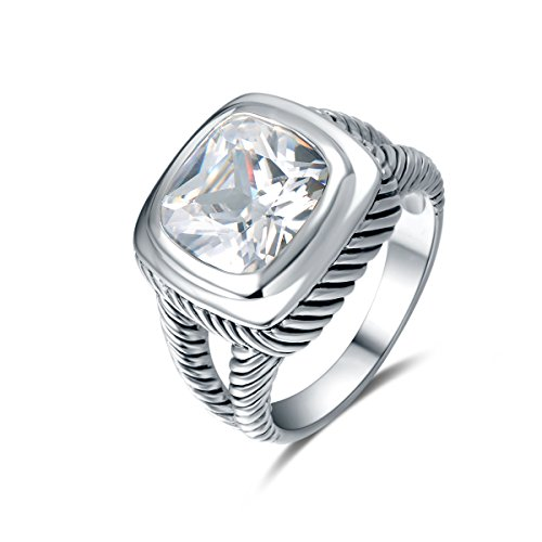 Quiges Antique 925 Sterling Silver Shank Twisted Cable Wire Promise Ring with Square Cut Zirconia Size 7