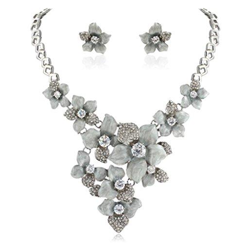 EVER FAITH Women's Austrian Crystal Grey Enamel Camellia Flower Necklace Earrings Set Silver-Tone