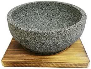 negro apta para altas temperaturas con bandeja cer/ámica Cuenco de piedra coreano para cocinar Bibimbap