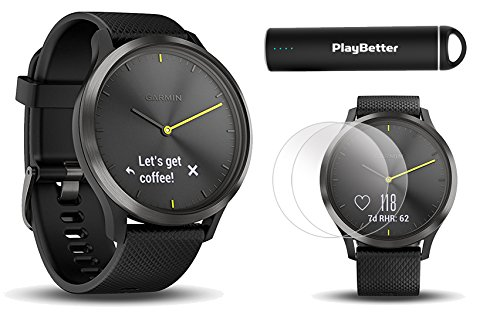 PlayBetter Garmin vivomove HR Sport (Slate with Black Band, Large) Hybrid Smartwatch Screen Protectors (x4) | Activity, Sleep & Stress Tracking, On-Wrist Heart Rate