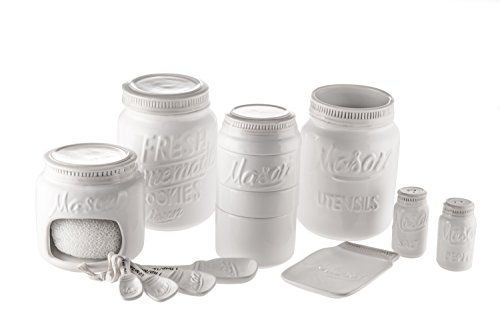 Goodscious 7-Piece Mason Jar Ceramic Kitchenware and Measuring Sets - Cookie Jar, Sponge Scrubber Holder, Utensil Crock, Salt and Pepper Shakers, Spoon Rest, Measuring Cups, Measuring Spoons (White)