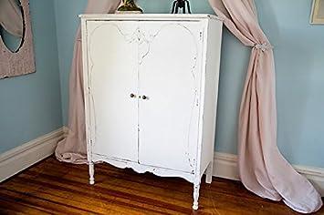 Custom Order Antique Armoire Shabby Chic White Distressed Cottage Prairie Vintage Dresser Closet