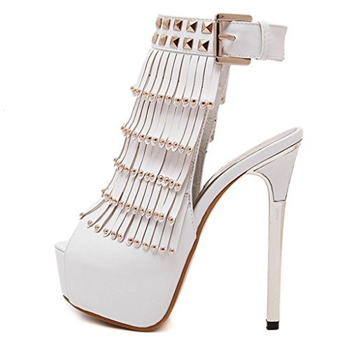 Tassel Girl's Gift Prom Shoes Strappy Party Womens HETAO Personality Size Wedding White Crossover White Black Heel High Sandals ZCcEawq