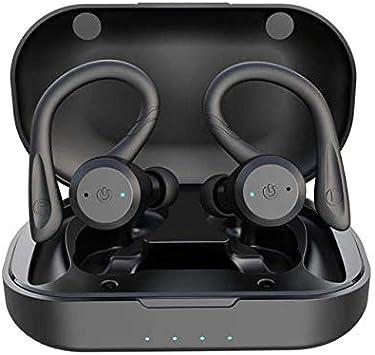 LLDKA Auriculares inalámbricos, Auriculares Bluetooth V5.0 en el oído, Auriculares inalámbricos con Sonido estéreo micrófono Impermeable Mini Sport Auriculares,Negro