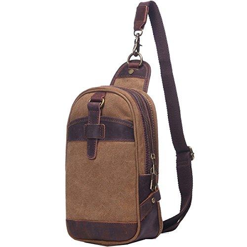 Paquete De Los Hombres Yy.f Pecho Caballo Loco Bolsa De Mensajero De La Vendimia Bolsos De Moda Bolso Del Hombre De Cuero Bolsa De Lona Lavada Multicolor Brown