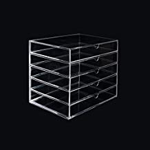 SortWise ® Removable Drawer Extra Large Clear Acrylic Cosmetic Makeup Organizer Cube Display Case Container Cabinet for Cosmetics Beauty Nail Polish Bathroom Storage Office Supplies (5 Drawers)