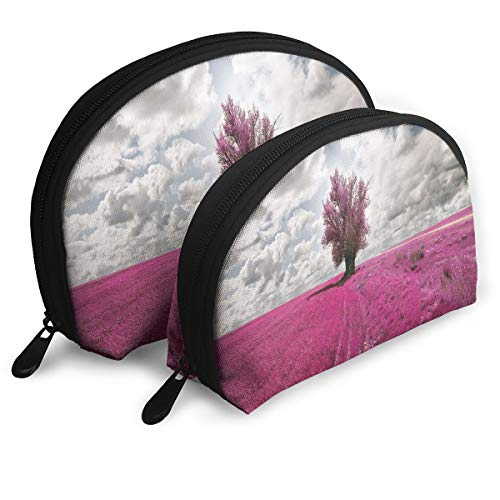 Shell Shape Makeup Bag Set Portable Purse Travel Cosmetic Pouch,Surreal Enchanted Oniric Meadow With Single Tree Idyllic Unusual Scene,Women Toiletry Clutch