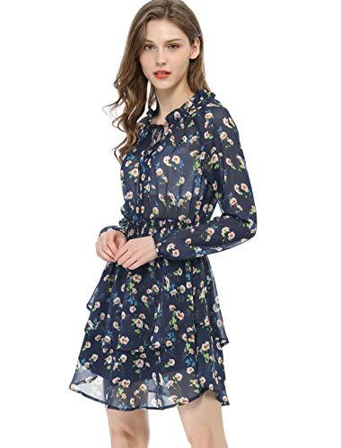 Allegra K Women's Floral Printed Ruffled Tie V Neck Smocked Waist Layered Vintage Chiffon Mini Dress XS Dark Blue