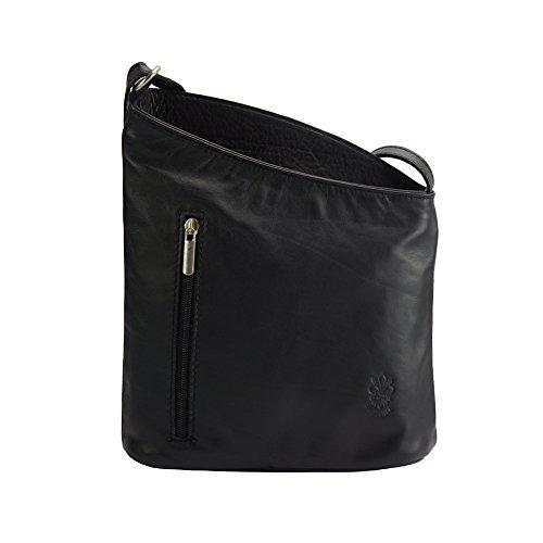 Florence Leather Market Bolso bandolera Miriam de cuero suave de becerro- 407 Negro