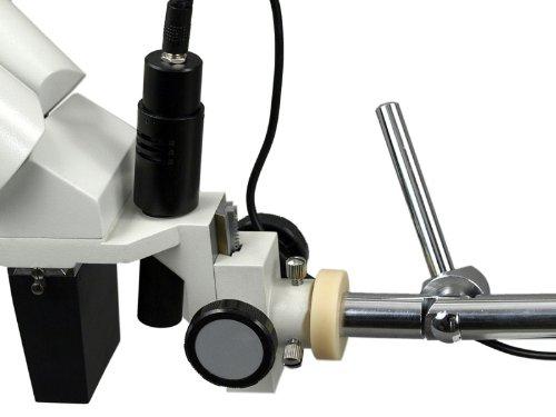 OMAX 10X-20X Binocular Boom Stand Microscope with Angle Adjustable Pen Light