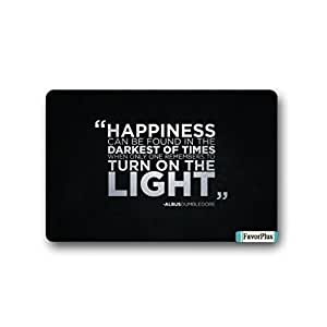 FavorPlus Happiness Can Be Found in The Darknest of Times When One Remembers to Turn On The Light Indoor/Outdoor Decor Rug Doormat 30(L) X18(W) inch Non-Slip Home Decor