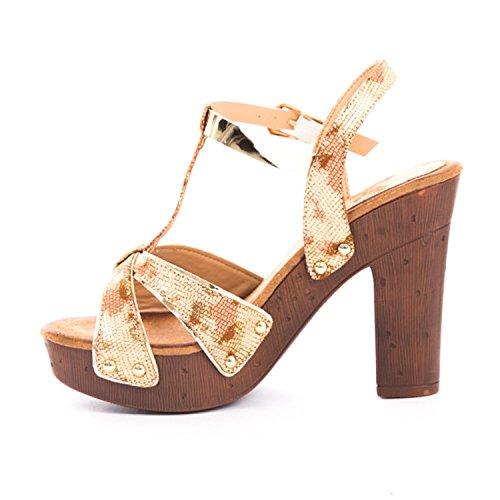 (Soho Shoes Women's Open Toe Chunky Heel Sandal Wedding Platform Ankle Strap Gold)