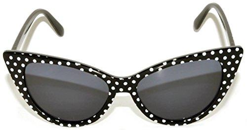 Women's Vintage Cat Eye Sunglasses UV Protection OWL (.Black-DOTS, PC - Cat Sunglasses Eye Wholesale