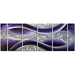 "Handcrafted Abstract Metal Wall Art with Soft Color, Large Scale Decor in Purple Line Design, 3D Artwork for Indoor Outdoor Wall Decorations, 6-Panels Metal Art Measure 24""x 65"""