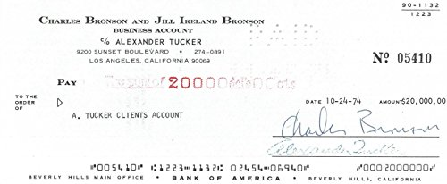 Charles Bronson Signed Authentic Autographed Check PSA/DNA #P57280