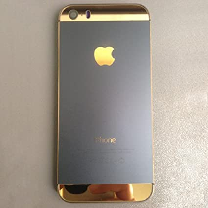 For Iphone 5s Electroplate Replacement Black gold Back Glass Allory Metal Back  Cover Housing Battery 6328234d93