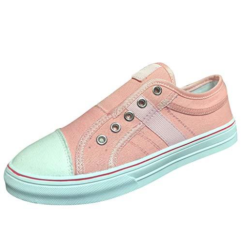 Shusuen Women's Fashion Sneaker Flat-Bottomed Casual Shoes Pink