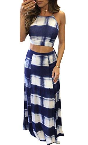 Long Skirt Set (Yonala Women's Backless Crop Top Split Maxi Skirt Set 2 Pieces Outfit Dress Blue Medium)