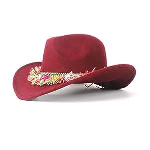 2019 Women Women Wool Felt Western Cowboy Hat, Roll-up Brim Lady Cowgirl Sombrero Hat with Fashion Ribbon (Color : Deep red, Size : 56-59cm)