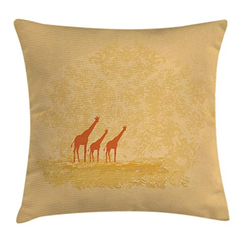 Ambesonne Giraffe Throw Pillow Cushion Cover, Giraffes in Retro Color Safari Savannah Design Hot Wild Life Animal Boho Scenery, Decorative Square Accent Pillow Case, 28 X 28 Inches, Orange Cream