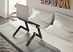 Pwr+ Portable Laptop-Table-Stand with Mouse Pad Fully Adjustable-Ergonomic Mount-Ultrabook-Macbook Light Weight Aluminum-Black Bed Tray Desk Book Fans Up to 17\