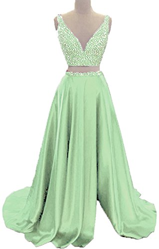 Formal Neck Party Mint Beads Dresses Dresses With Split BD397 V Piece Two BessDress Prom qFTRZWc0n1