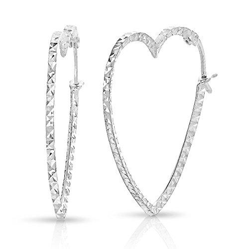 Sterling Silver Heart Shape Hoop Earrings (Size: 1.1