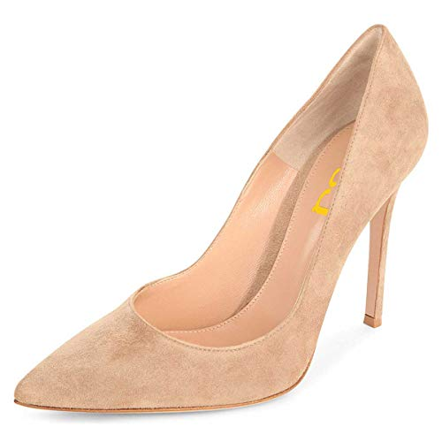 Pumps Stiletto High Heel - FSJ Women Sexy Suede Pointed Toe Pumps 12 cm High Heels Stilettos Prom Shoes Size 4 Nude