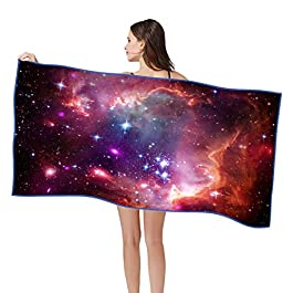 Handfly Microfibre Beach Towel Large 160x80cm,Quick Dry/Sand Free/Lightweight Beach Towel, Starry Galaxy Space Universe Printed Beach Towel with Storage Bag for Women Men Beach, Pool,Travel