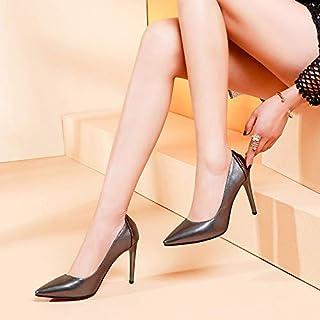 HOESCZS Tempérament Élégant avec Talons Hauts Simples Cuir Banquet Pointu Bouche Peu Profonde Stiletto Chaussures Habillées GDXVFASE