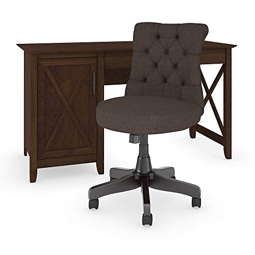 Bush Furniture KWS020BC Key West Computer Desk with Mid Back Tufted Office Chair 54W Bing ()