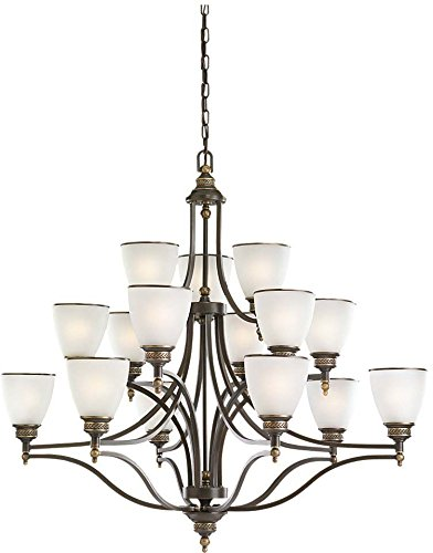 Sea Gull Lighting 31352-708, Laurel Leaf Glass Chandelier Lighting, 15 Light, 225W, Bronze