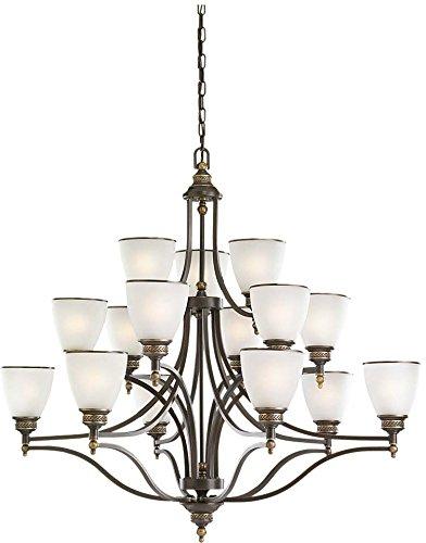Sea Gull Lighting 31352-708, Laurel Leaf Glass Chandelier Lighting, 15 Light, 225W, - Leaf Chandelier Laurel