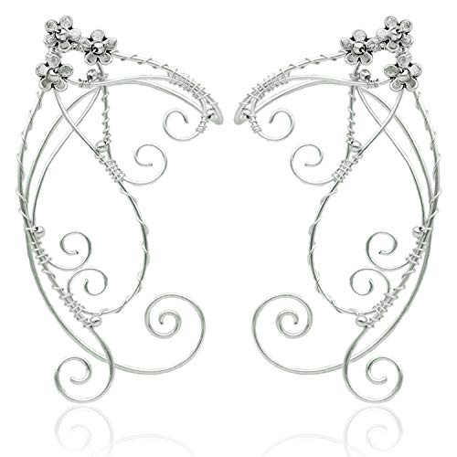 OwMell Elf Ear Cuffs for Non Pierced Ears, OwMell 1 Pair Silver Filigree Pointed Fairy Elven Cosplay Fantasy Costume Flower Bridal Wedding Earrings Handcraft
