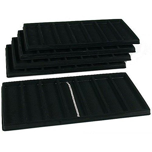 Black Flocked Tray Inserts - 5 Black 7 Slot Bracelet Watch Display Tray Inserts Showcase Units