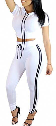 ChongErfei Women's Sexy Bodycon Round Neck Hoody Pants 2-Piece Jumpsuit Sportswear (X-Large, White)