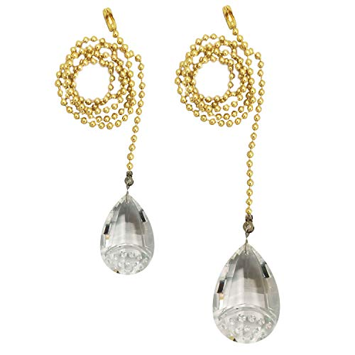 - Royal Designs FP-1008PB-2 Fan Pull Chain with Balloon Shaped Crystal Faceted Pendant, Polished Brass Set