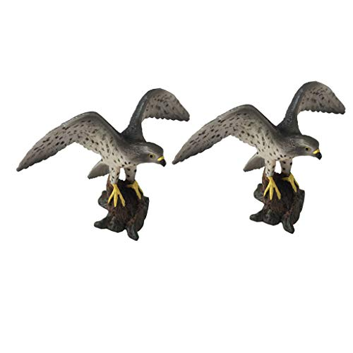 P Prettyia 2個 ハヤブサモデル 鳥 動物模型 生き生き インテリア マイクロ景観 ミニチュア おもちゃ