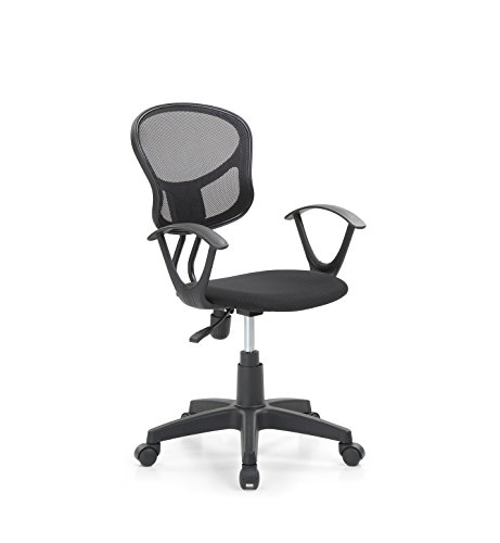 - Hodedah Mesh, Mid-Back, Adjustable Height, Swiveling Task Chair with Padded Seat in Black
