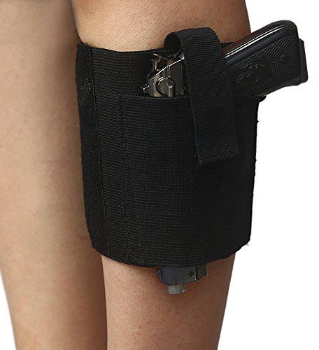 TAKIYA Women's Velcro Closures Garter Holster Concealment Thigh & Ankle Gun Holster (Black-15
