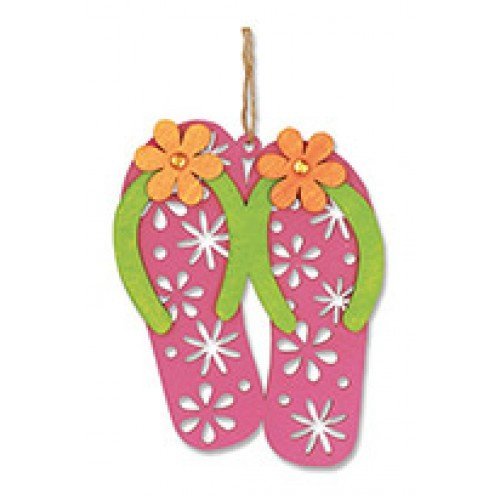 Flip Flops Christmas Ornament Laser Cut Wood and Hand Painted