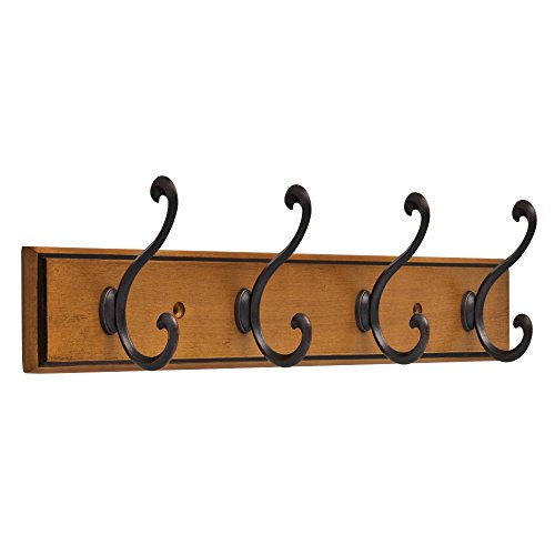 Franklin Brass R32855K-220-R Light Duty Scroll Hook Rack,16 in. Honey Maple & Statuary Bronze (Bronze Statuary Dark)