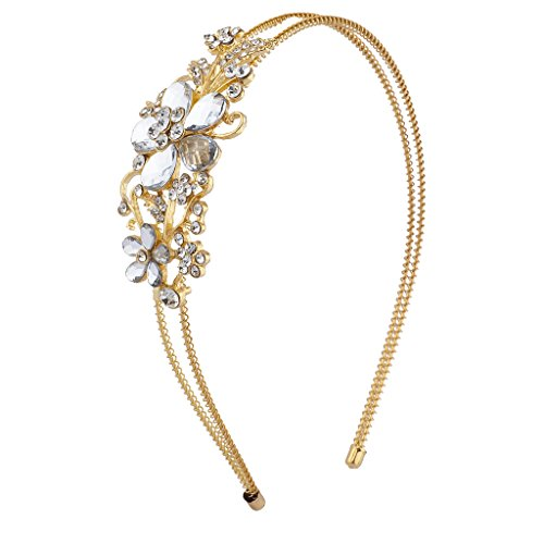 Lux Accessories Gold Tone Crystal Gemstone 2 Row Coil Flower Floral Headband