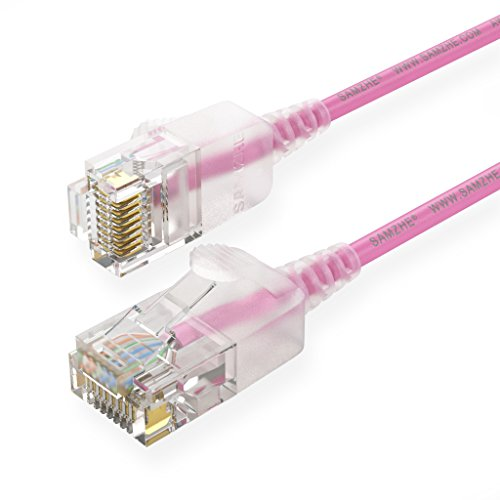 Pink Networking Cables (SAMZHE-6ft-CAT.6A Ultra Slim&Soft Ethernet Gigabit Lan patch cable(RJ45)10/100/100/10000Mbps|Compatible with CAT.5/CAT.5e/CAT.6/CAT.7 for Switch/Router/Modem/Patch panel / Access Point/Server-Pink)