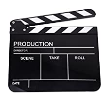 Clapper Board Slate For TV Film Movie- White and Black Stripe Black Board, It Can Record Film Production, Director, Scene, Take, Roll and Date.