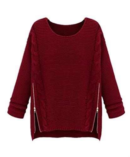 Casual Pullover Lunga Red Maglie Colore Moda Maglieria Gogofuture Taglie Elegante Forti Sweatshirt Manica Cerniera Felpe Donna Con Maglione Puro Inverno wxzqCtzvg