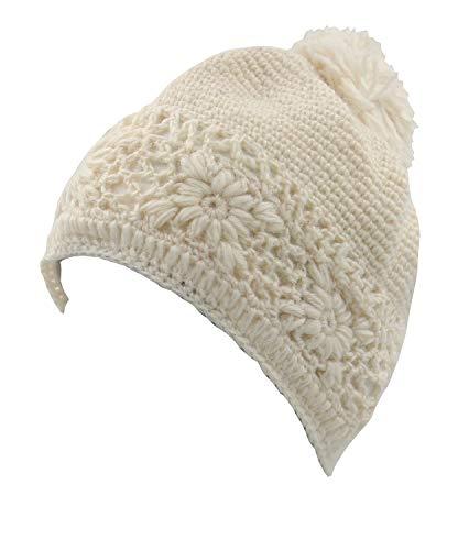 - KayJayStyles Winter Woolen Nepal Hand Cabel Knit Pom Pom Beanie Hat Cap (White)