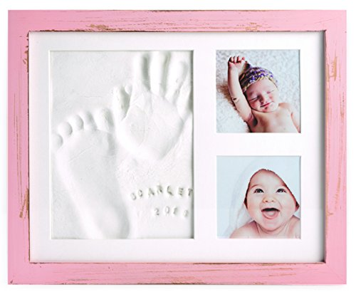 Baby Handprint Frame Kit and Footprint Mold with Clay and Name Stamps | Shower Gift (Pink)